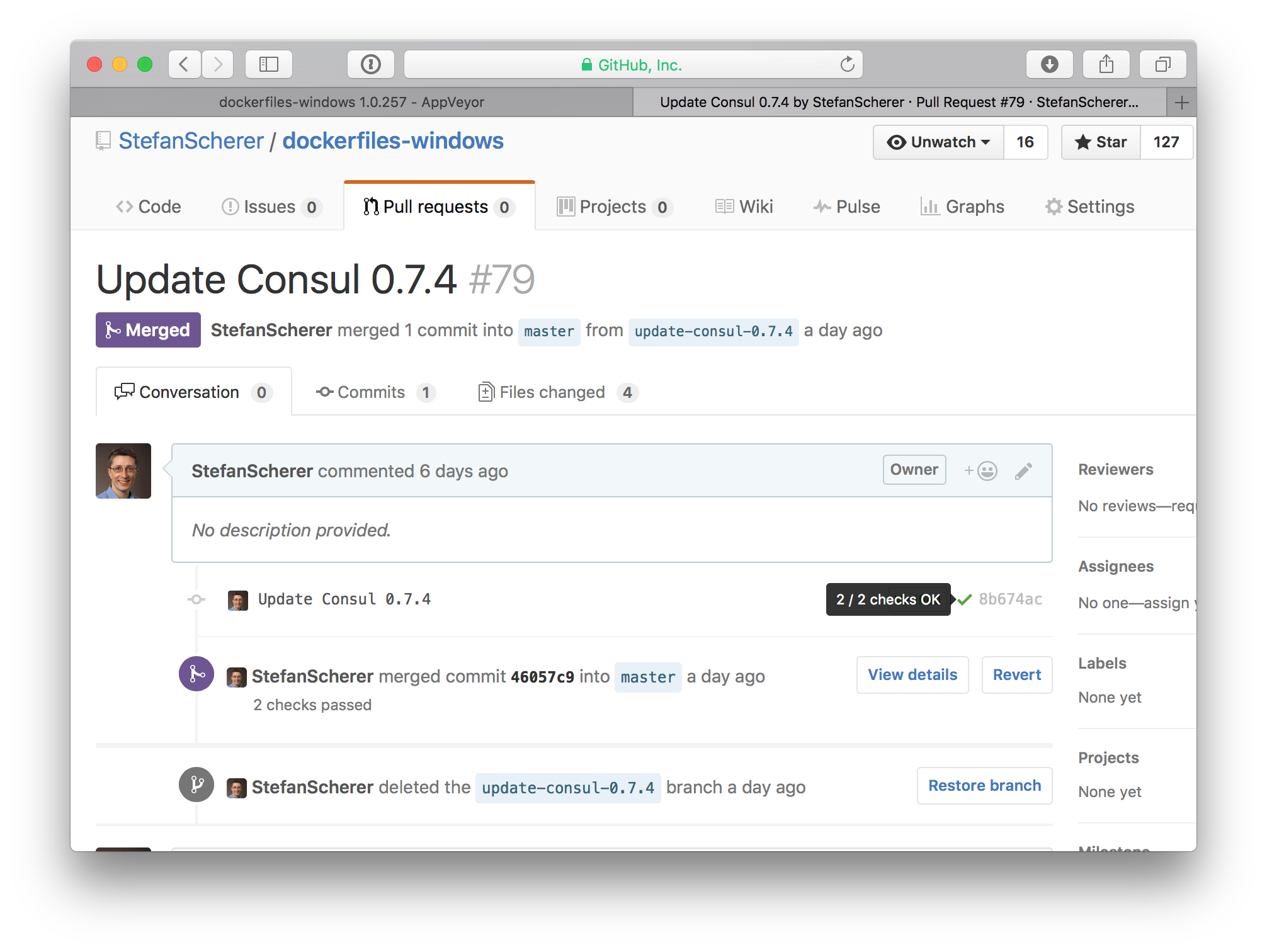 GitHub pull request checks green