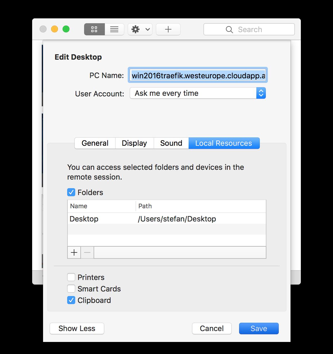 Add folder in RDP client