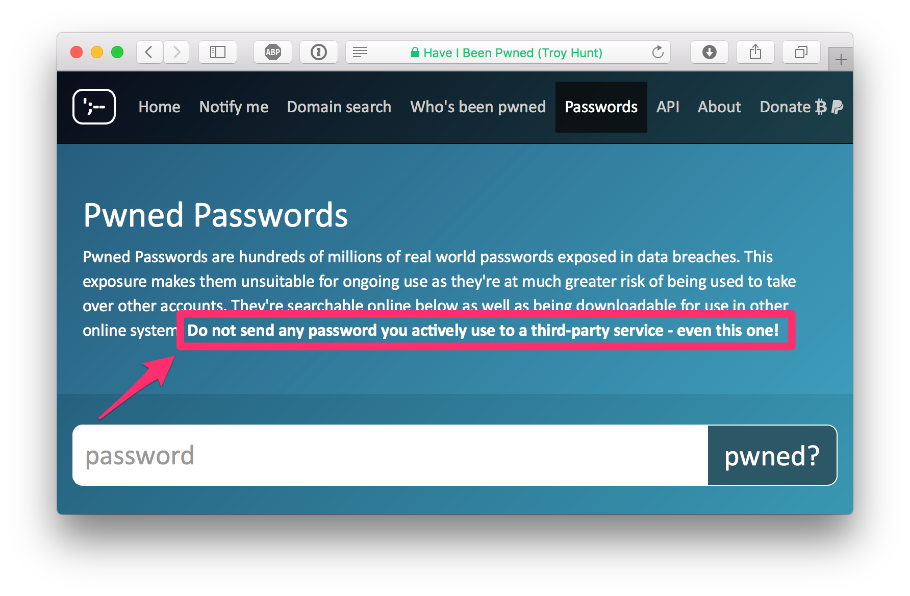 Pwned Passwords online service