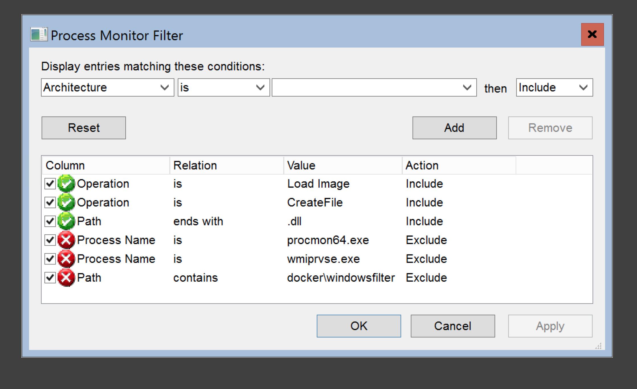 define procmon filter