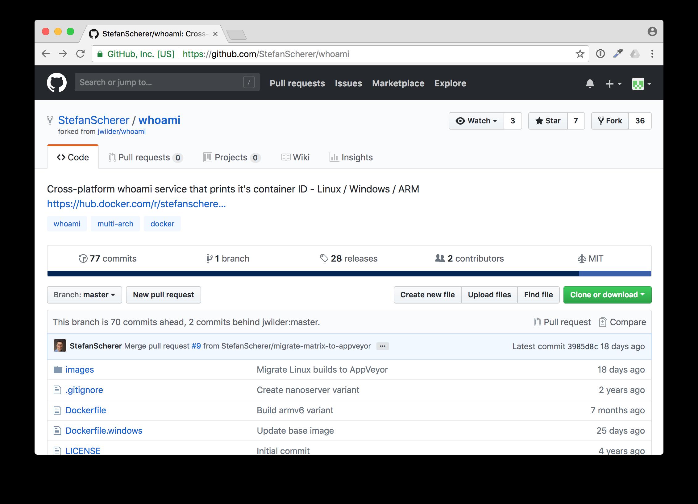 GitHub StefanScherer/whoami repo