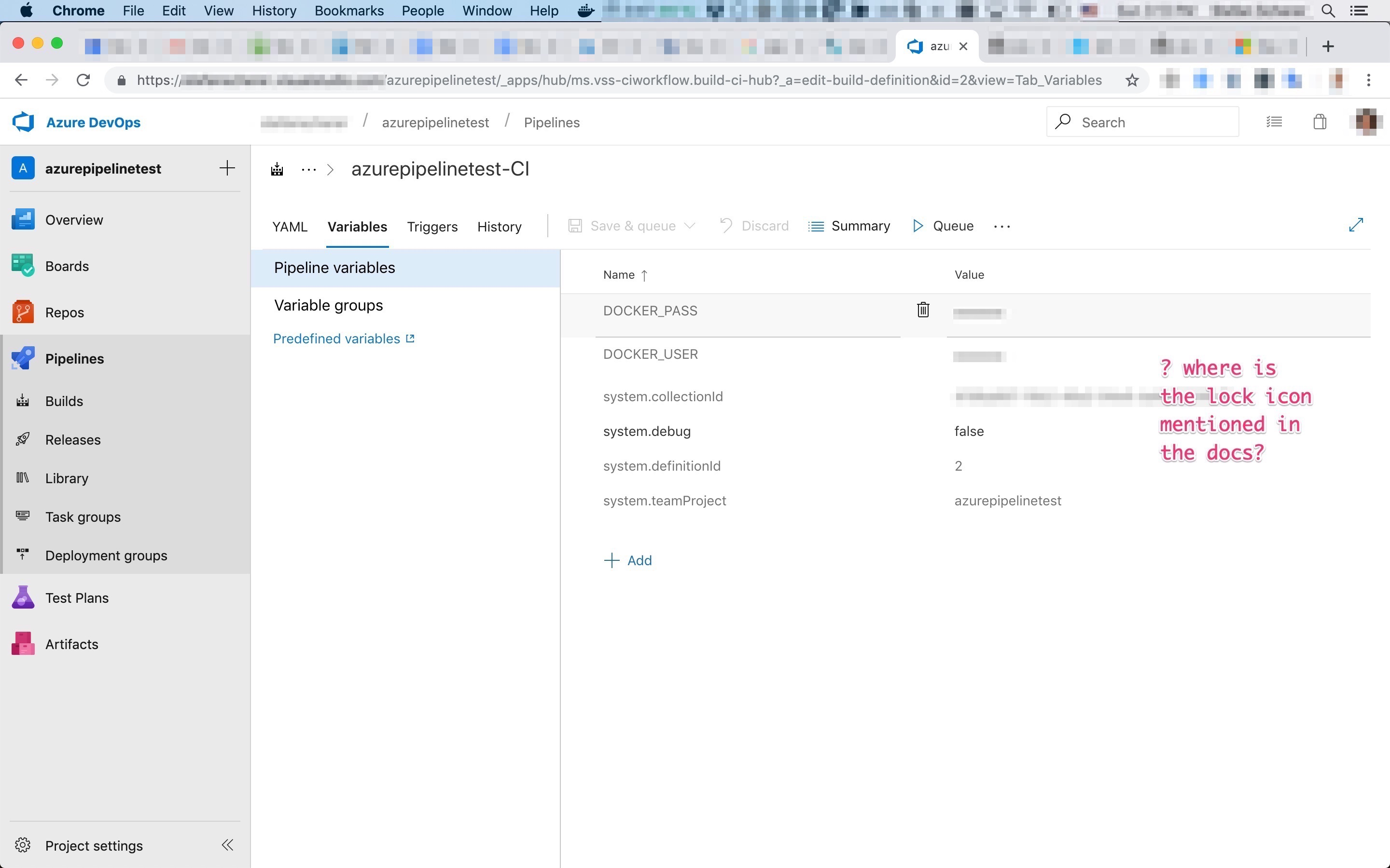 azure pipelines variables where is the lock