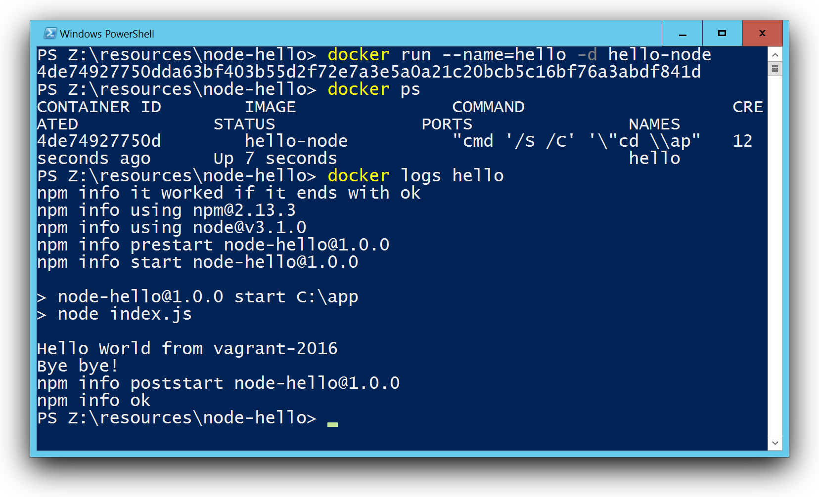 Docker run hello world with Node.js in a Windows container